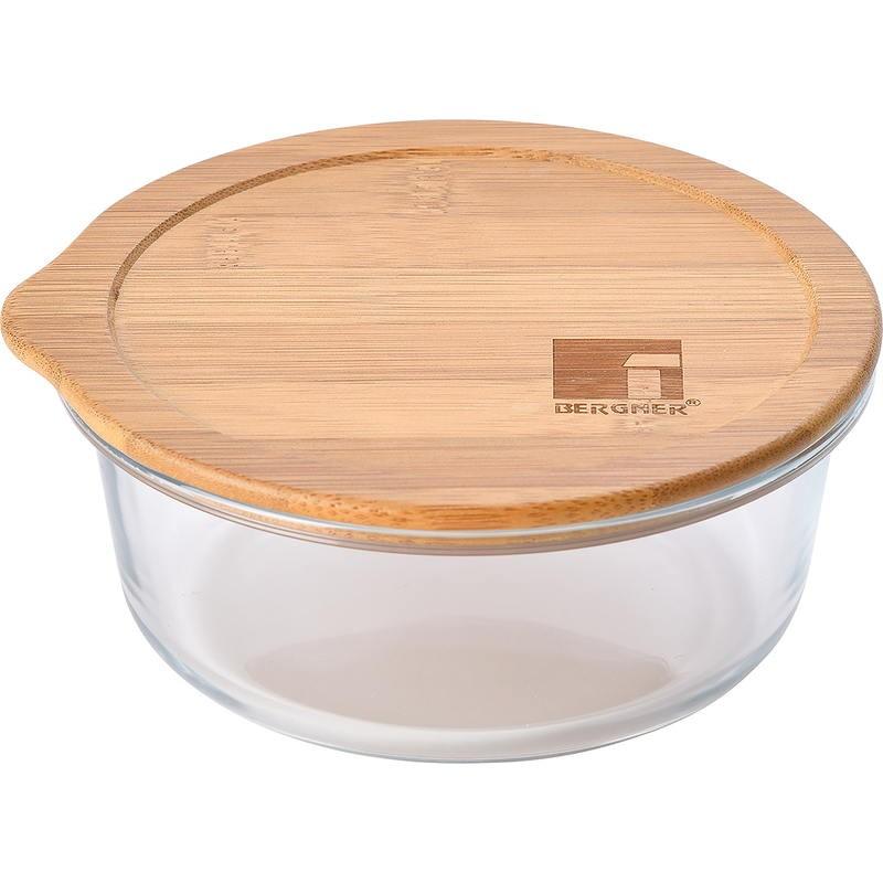 Dóza na potraviny skleněná s bambusovým víkem 0,65 l