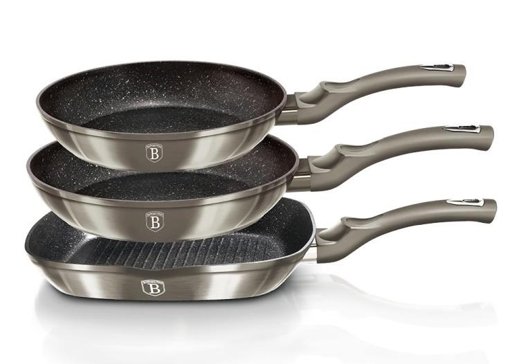 Sada pánví s mramorovým povrchem 3 ks 20 cm / 24 cm / gril 28 Carbon Metallic Touch Line BERLINGERHAUS BH-1274