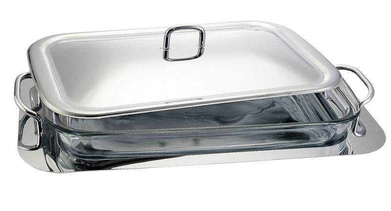 Servírovací mísa s tácem nerez / sklo 3 L