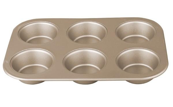 Forma na muffiny s nepřilnavým povrchem 6 ks zlatá