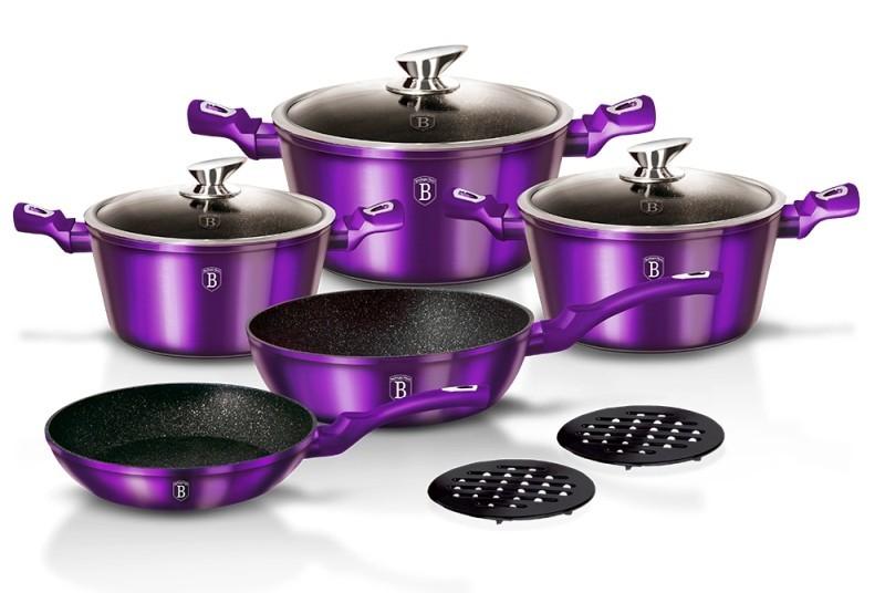 Sada nádobí s mramorovým povrchem 10 ks Royal Purple Metallic Line