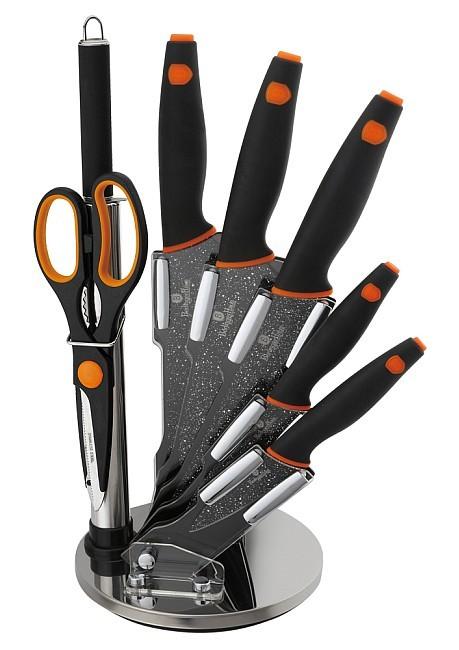 Sada nožů ve stojanu 8 ks Granit Diamond Line černá/oranžová BERLINGERHAUS BH-2117