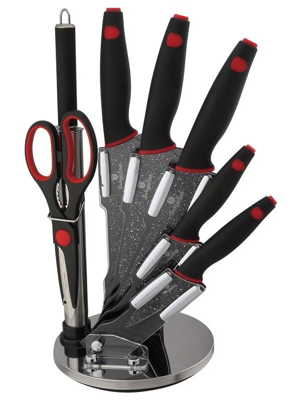 Sada nožů 8 ks ve stojanu Black Stone Touch Line BERLINGERHAUS BH-2119