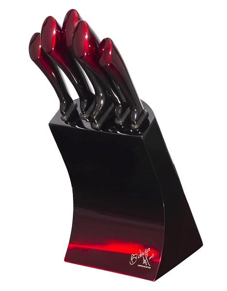 Sada nožů v kovovém stojanu 6 ks Black Burgundy Metallic Line