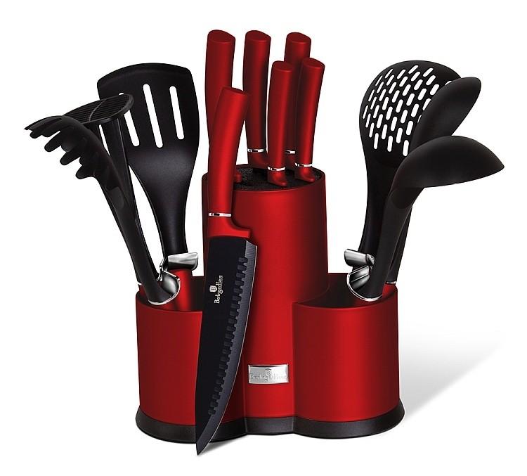 Sada nožů a kuchyňského náčiní ve stojanu 12 ks Burgundy Metallic Line BERLINGERHAUS BH-6248