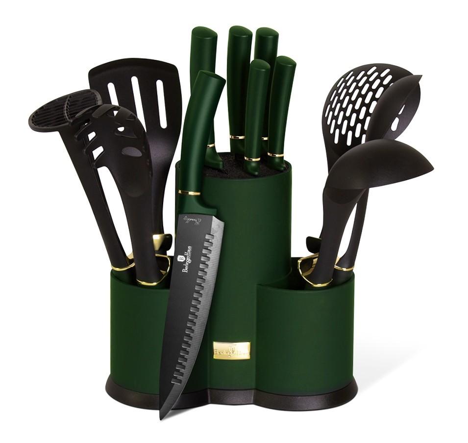Sada nožů a kuchyňského náčiní ve stojanu 12 ks Emerald Collection