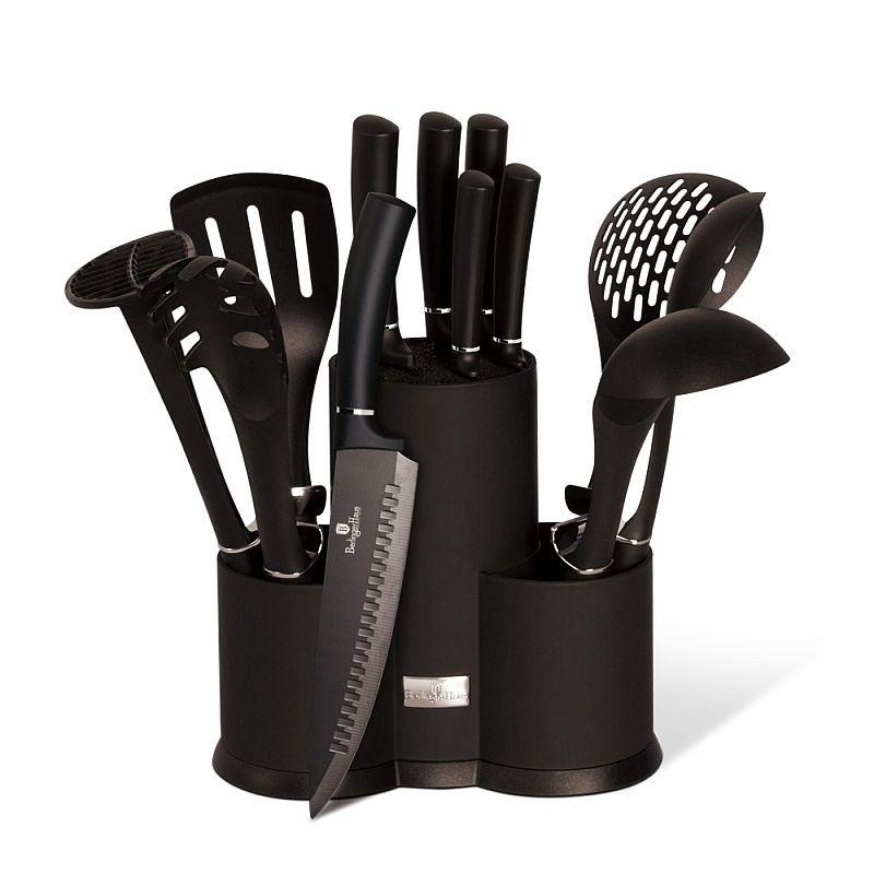 Sada nožů a kuchyňského náčiní ve stojanu 12 ks Royal Black Collection