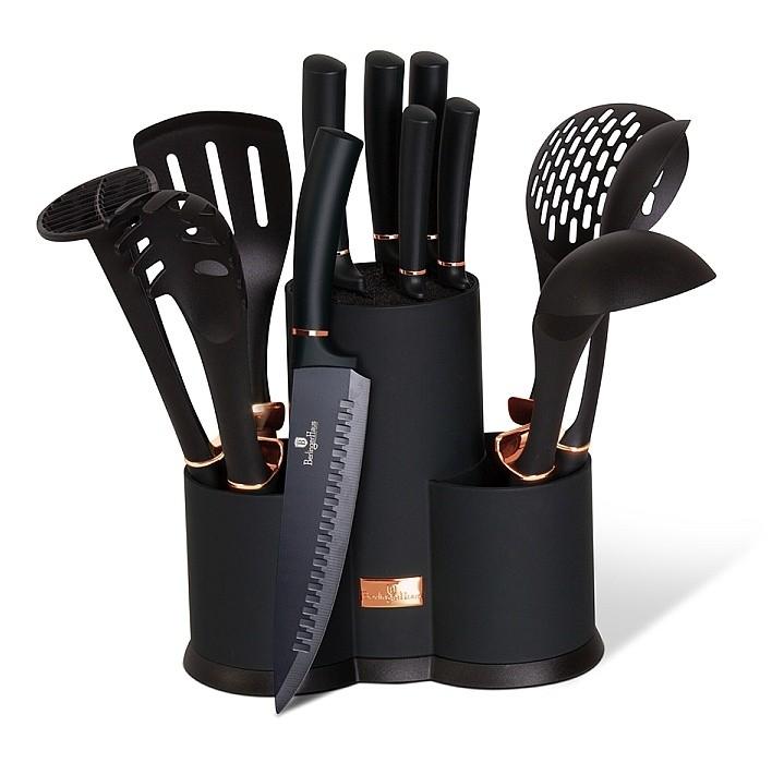 Sada nožů a kuchyňského náčiní ve stojanu 12 ks Black Rose Collection BERLINGERHAUS BH-6254