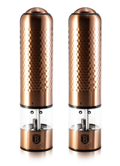 Mlýnek na pepř a sůl elektrický sada 2 ks Rosegold Metallic Line BERLINGERHAUS BH-6415