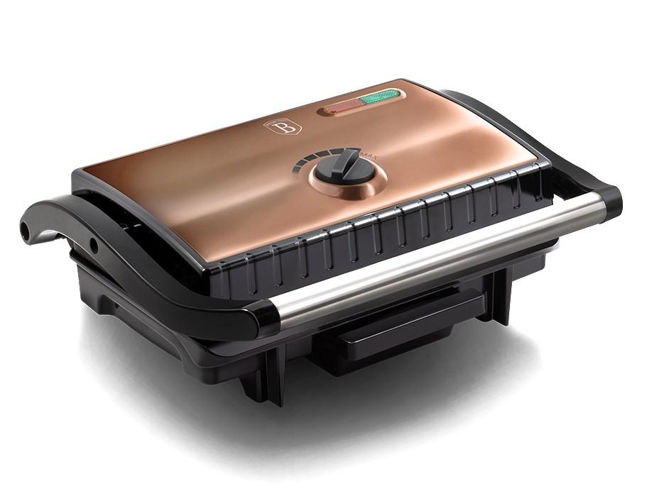 Elektrický kontaktní gril s nepřilnavým povrchem Rosegold Metallic Line BERLINGERHAUS BH-9061