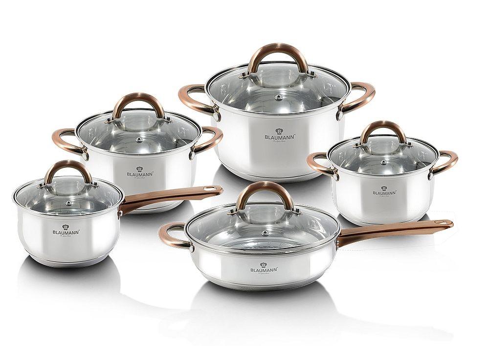 Sada nádobí nerez 10 ks Gourmet Line měděné rukojeti BLAUMANN BL-3420