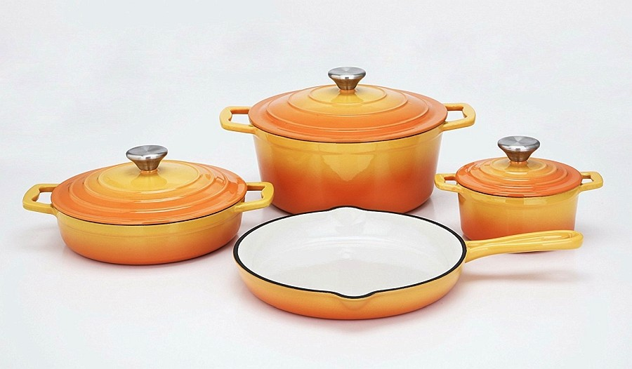 Sada nádobí litinová Xanten 7 ks oranžová CS Solingen CS-067526