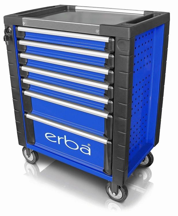 Dílenský vozík 7 uzamykatelných zásuvek, bez nářadí modrá/černá ERBA ER-14221