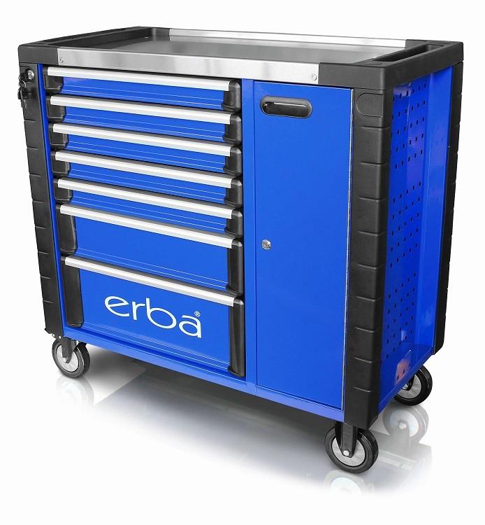 Dílenský vozík 7 uzamykatelných zásuvek a skříňka, bez nářadí ERBA ER-14223