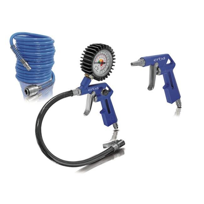 Sada pneumatického příslušenství ke kompresoru 3 ks modrá ERBA ER-20071
