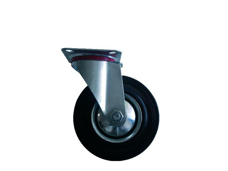 Kolo gumové černé otočné motážní ploška 85 mm / 60 kg