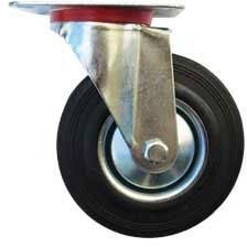 Kolo gumové černé otočné motážní ploška 125 mm / 110 kg