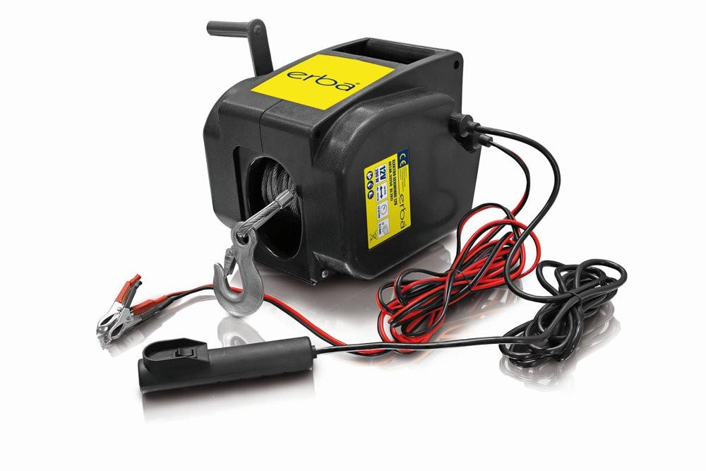 Elektrický ruční naviják 12V s klikou a dálkovým ovládáním ERBA ER-33250