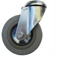 Kolo gumové šedé otočné montážní otvor 100 mm / 80 kg ERBA ER-33303