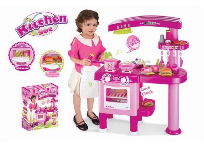 Dětská kuchyňka velká s příslušenstvím růžová