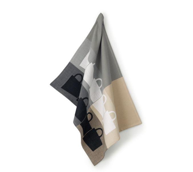 Utěrka TABEA 100% bavlna, dekor hrnek, béžová / šedá 50x70cm KELA KL-11730