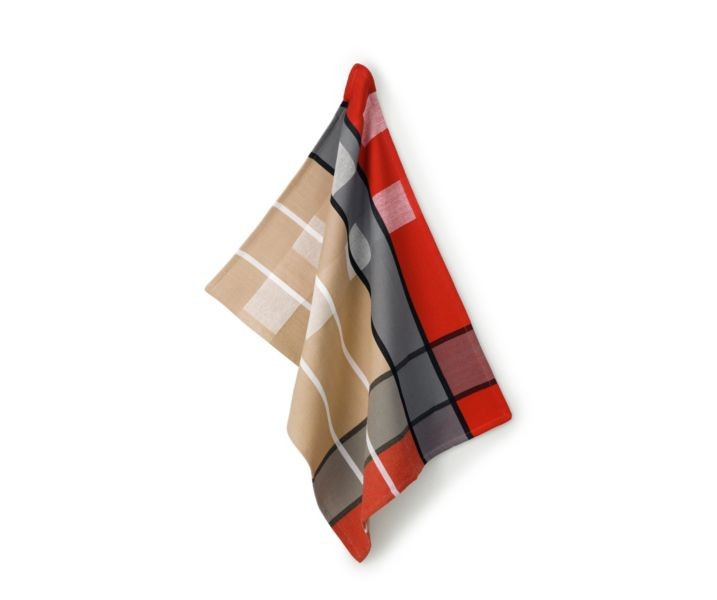 Utěrka TABEA 100% bavlna, dekor kostka, béžová / červená / šedá 50x70cm KELA KL-11732