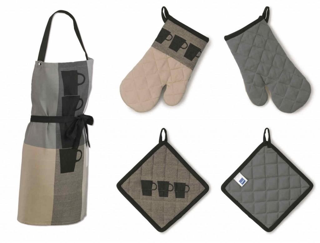 Sada kuchyňského textilu TABEA 3 ks 100% bavlna, dekor hrnek, béžová / šedá