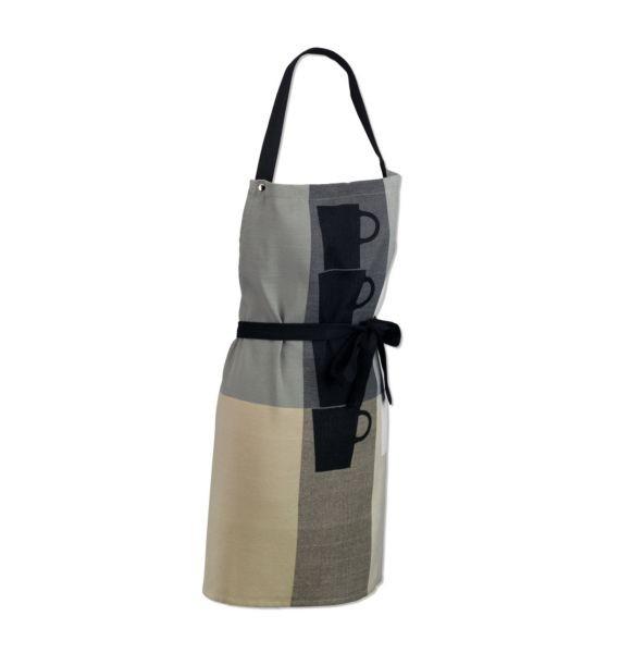 Zástěra TABEA 100% bavlna, dekor hrnek, béžová / šedá 67x80cm KELA KL-11741