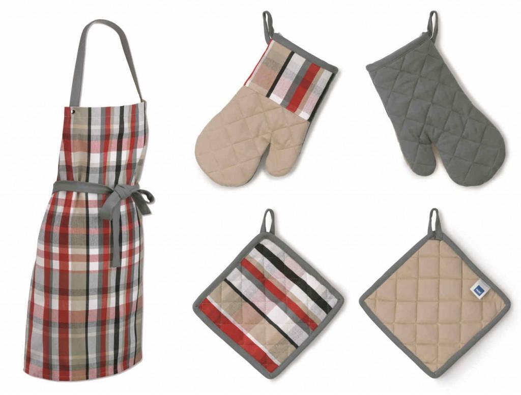 Sada kuchyňského textilu TABEA 3 ks 100% bavlna, dekor kostka, červená / béžová / šedá