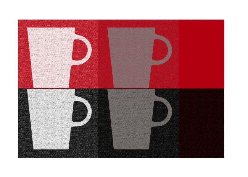 Prostírání PICTURE PP-plastic, dekor hrnek, červená 43,5x28,5cm