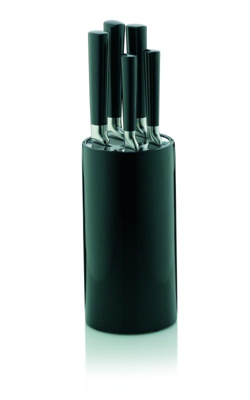 Sada nožů v bloku 6 ks CARDIFF černá 11x36,5 cm KELA KL-11846