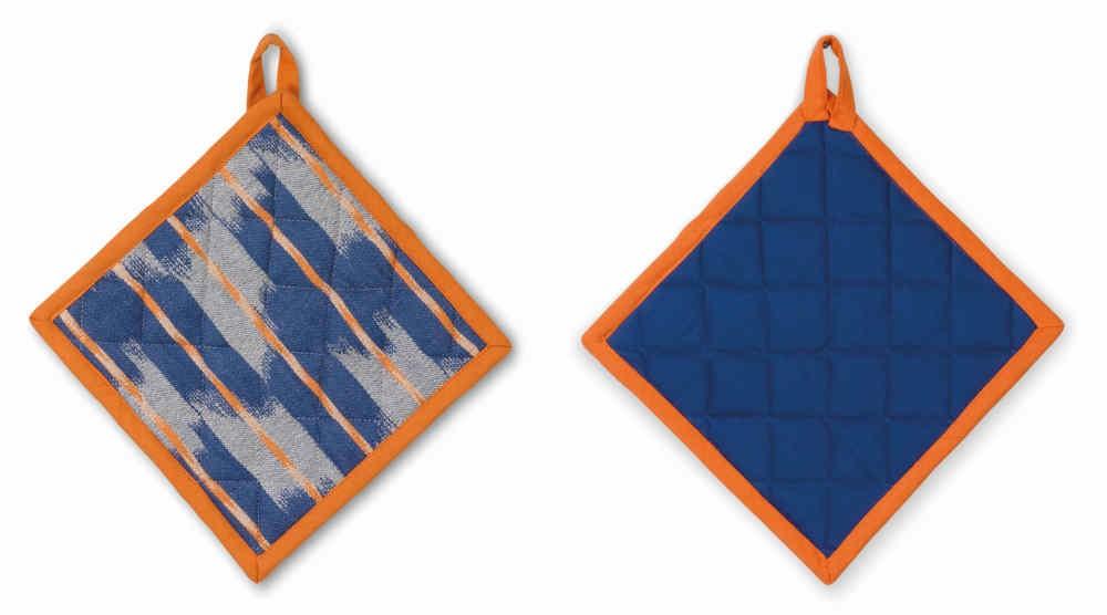 Čtvercová chňapka ETHNO 100% bavlna, modrá, 20x20cm