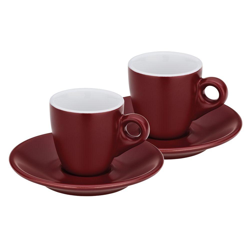 Hrnek na espresso s podšálkem sada 4 ks MATTIA burgundy