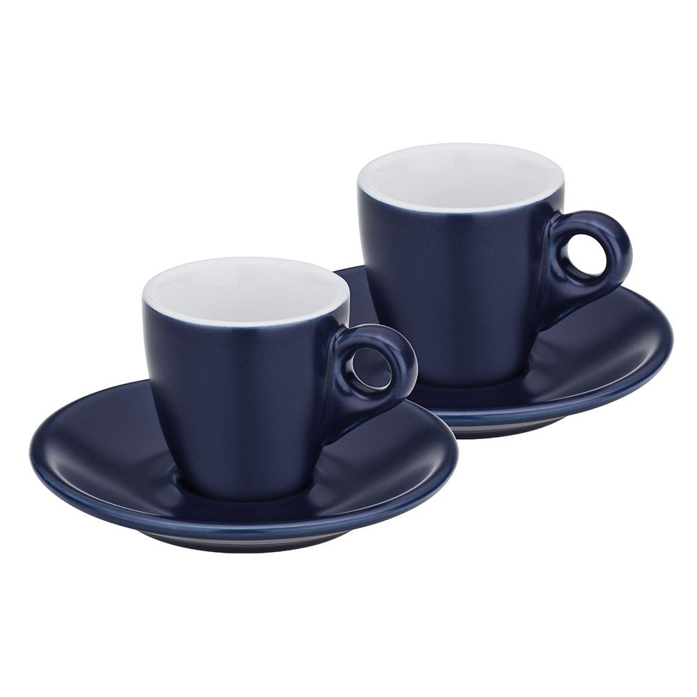 Hrnek na espresso s podšálkem sada 4 ks MATTIA tmavě modrá