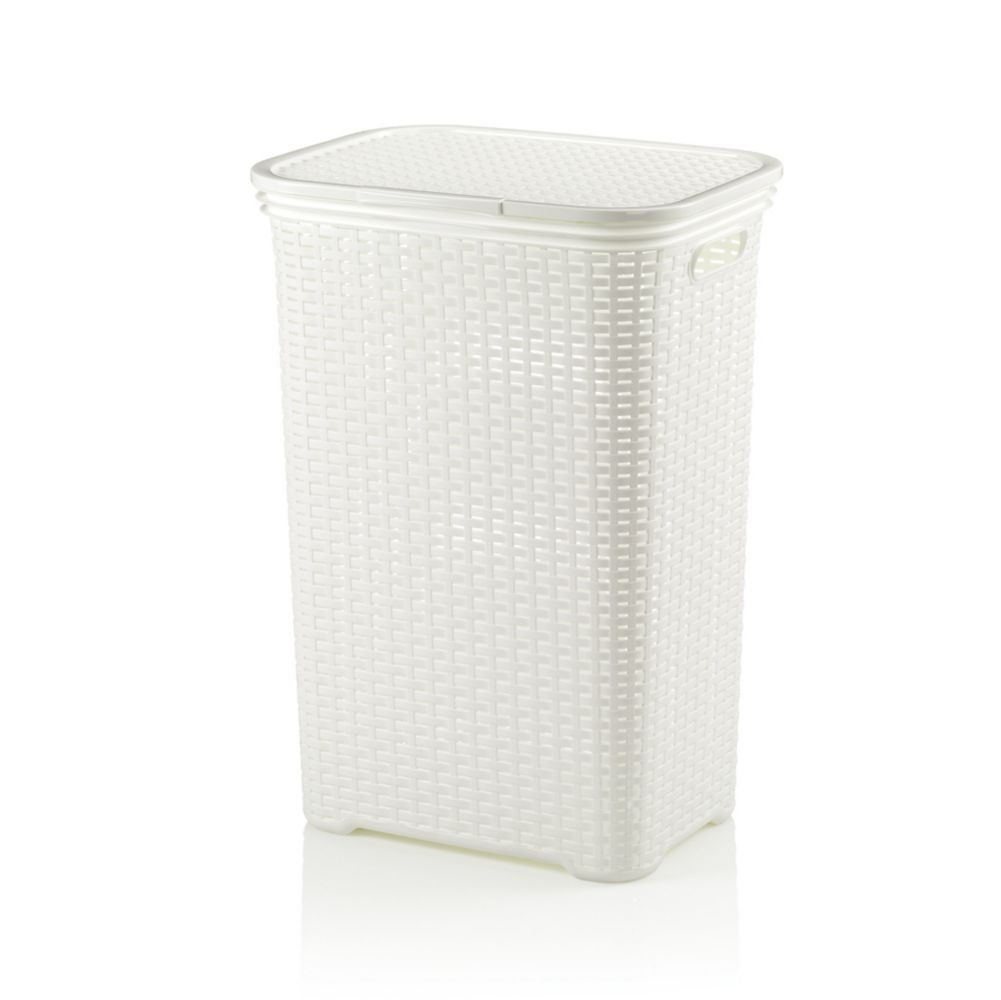 Koš na prádlo BRASILIA PP plastik, bílá L 43,5cm x W 33,5cm x H 60cm / 60