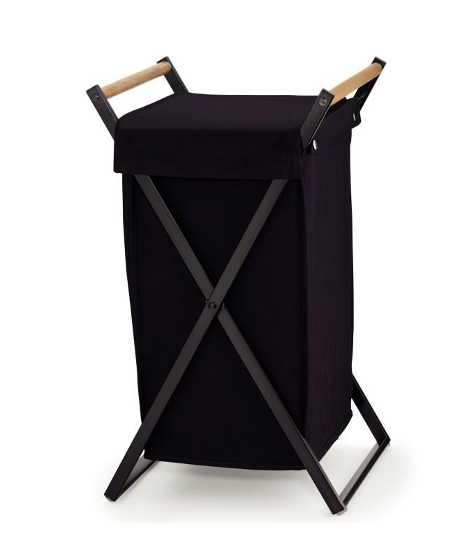 Koš na prádlo OAK bavlna / kov černá