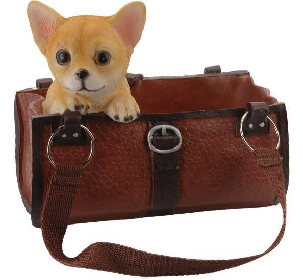 Dekorace / držák na víno pes v kabelce čivava