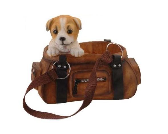 Dekorace / držák na víno pes v kabelce jackrussell