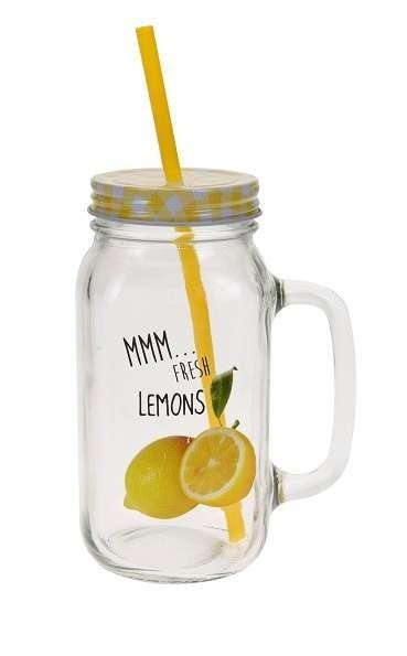 Sklenice na limonádu s brčkem Retro žlutá
