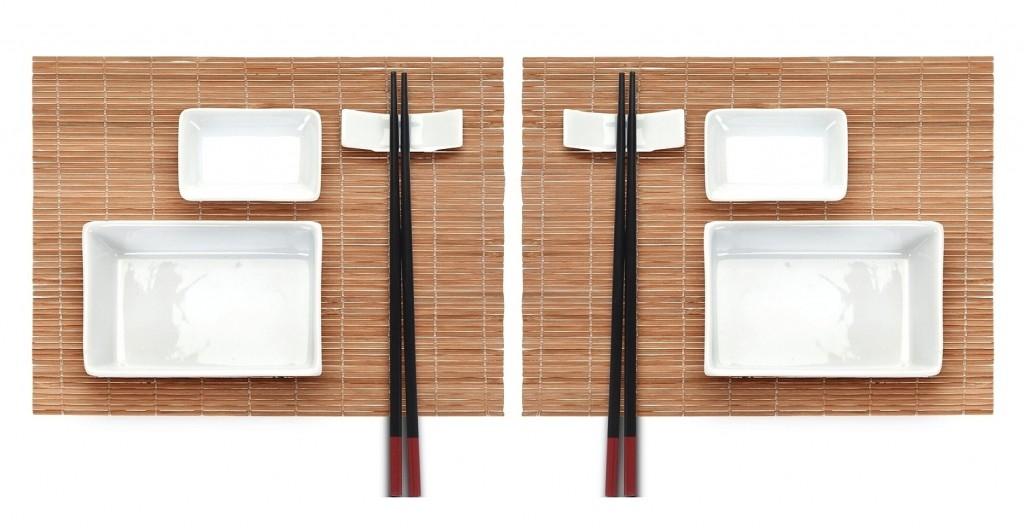 Sushi set keramika / bambus sada 10 ks