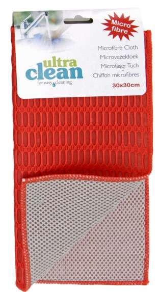 Utěrka / odkapávač na nádobí mikrovlákno 30x30 cm červená
