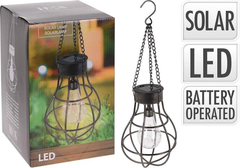 Lampa solární s LED žárovkou závěsná 18,5 x 27 cm