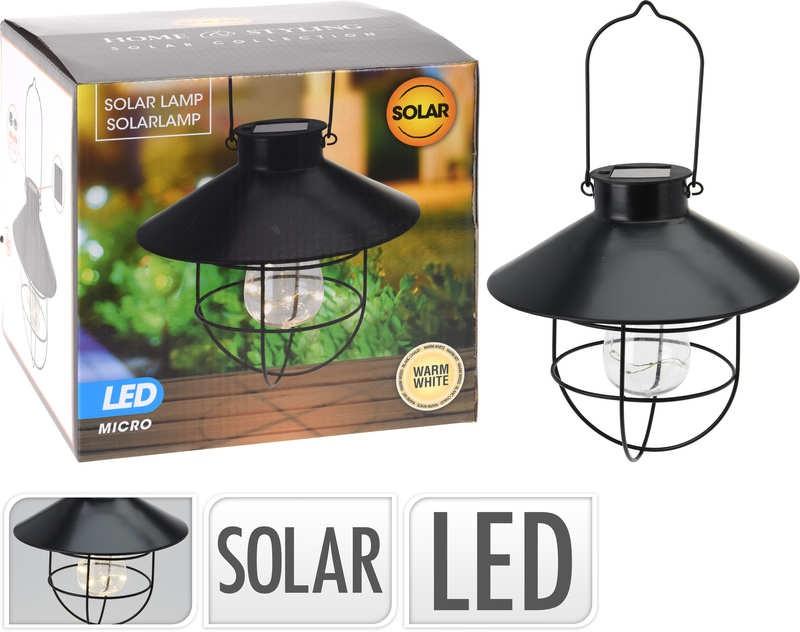 Lampa solární zahradní k zavěšení černá