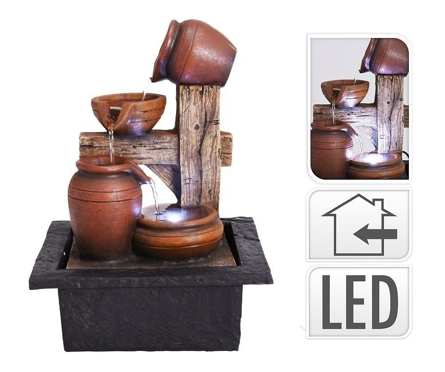 Fontána pokojová s LED osvětlením 4 Amfory
