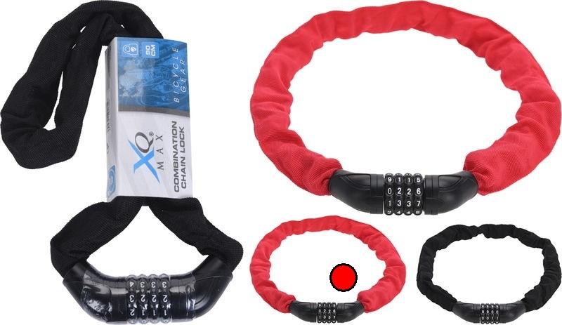 Levně Zámek na kolo řetězový s číselným kódem 90 cm červená