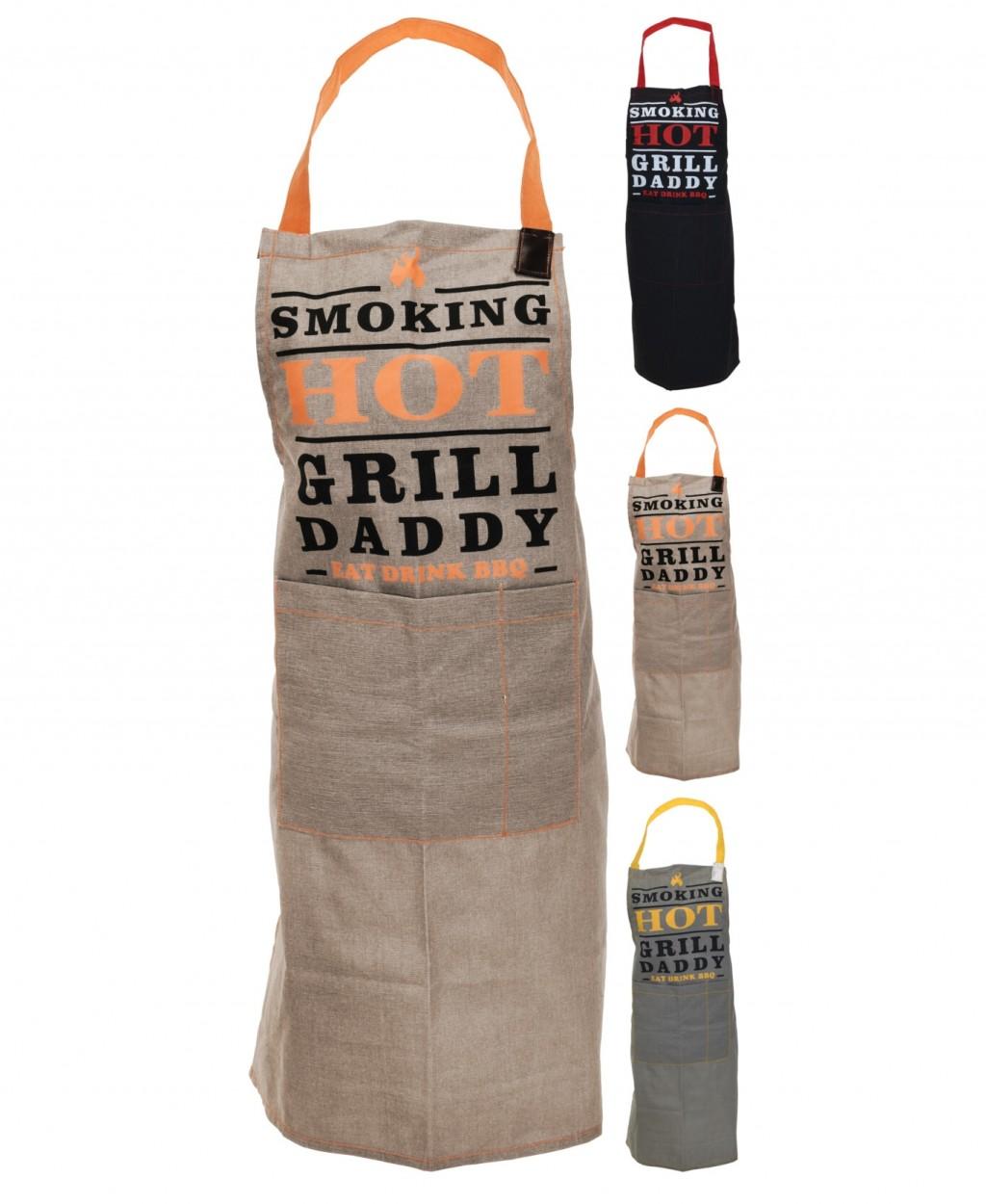 Zástěra kuchyňská BBQ šedá/žlutá