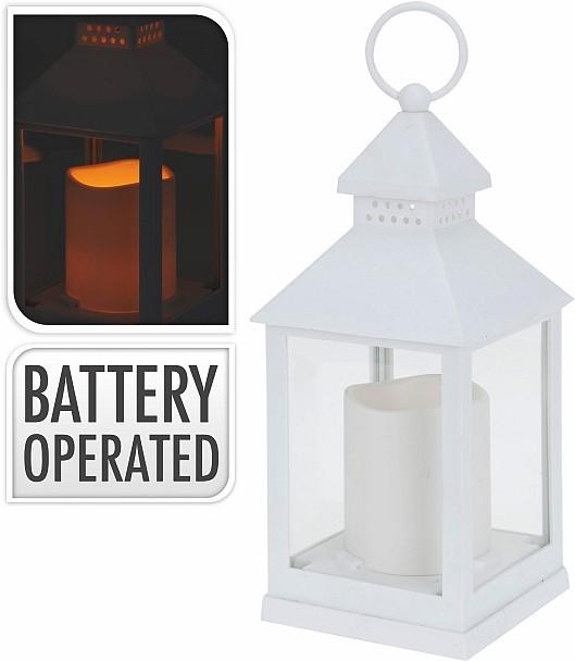 Lucerna s LED svíčkou 23 cm bílá