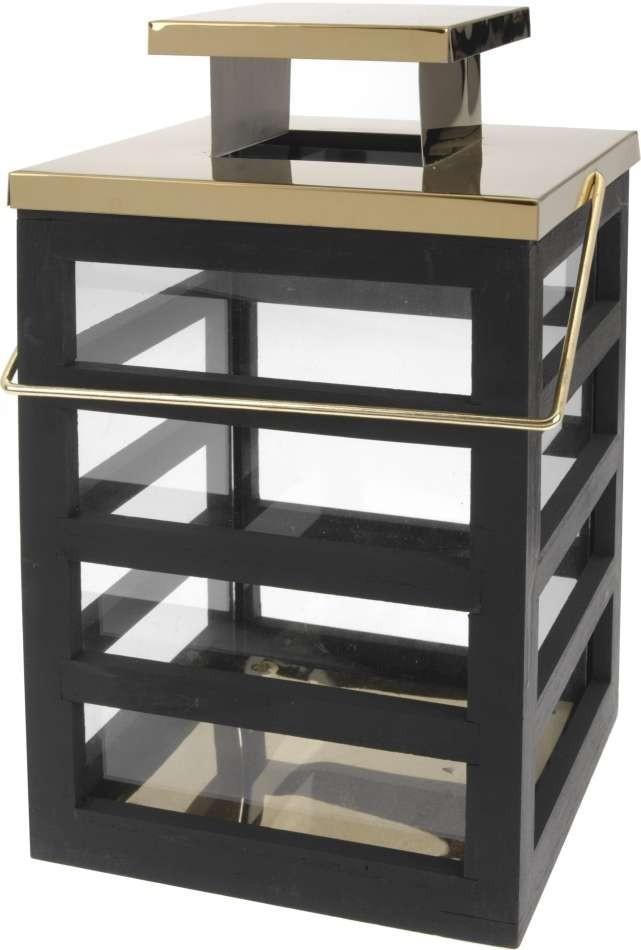 Lucerna dřevěná 18 x 18 x 30 cm černá/zlatá PROGARDEN KO-ASH302700