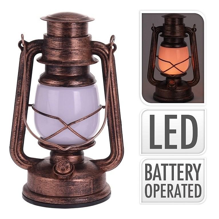 Lucerna s LED žárovkou 25 cm měděná PROGARDEN KO-AX5305190me