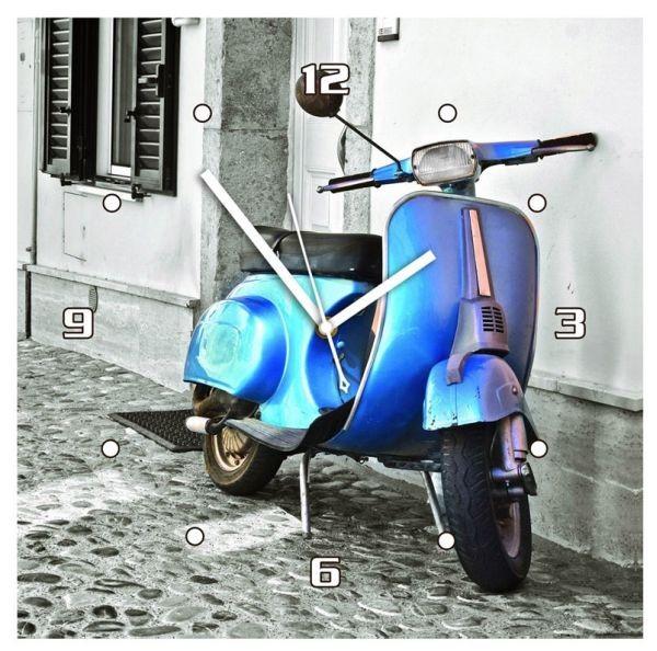 Hodiny nástěnné, 30x30x2,5 cm, modrý skůtr